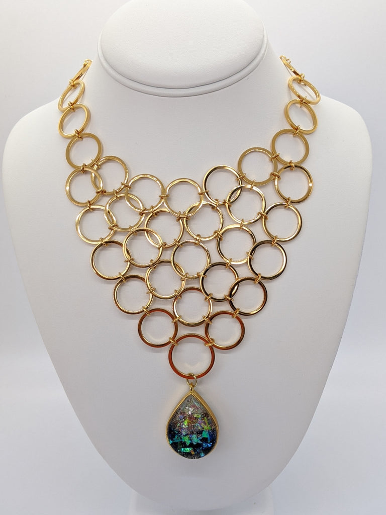 Repurposed Vintage Gold Circle Signed Vendome Bib Necklace - Art by Autumn M.Necklace