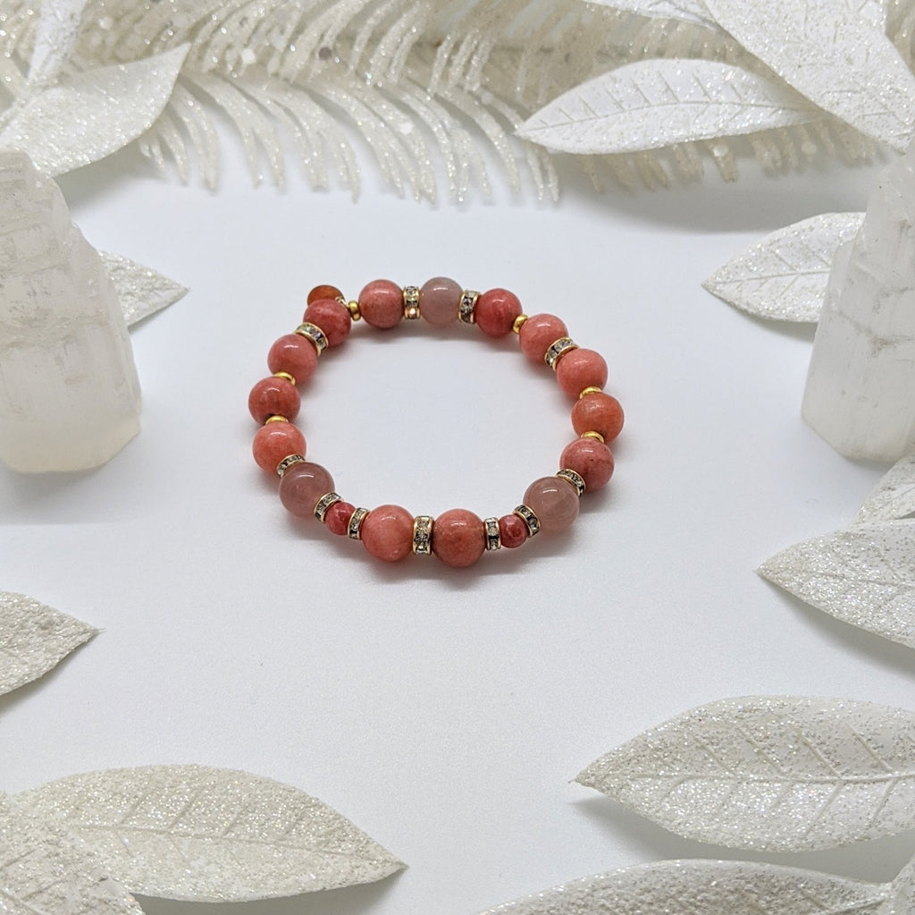 Rhodochrosite, 24K Gold Vermeil and Swarovski Crystal Compassionate Bracelet - Art by Autumn M.