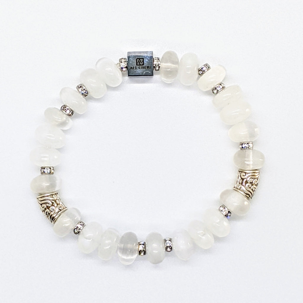 Selenite, KHT Silver and Swarovski Crystal Bracelet - Art by Autumn M.Bracelet