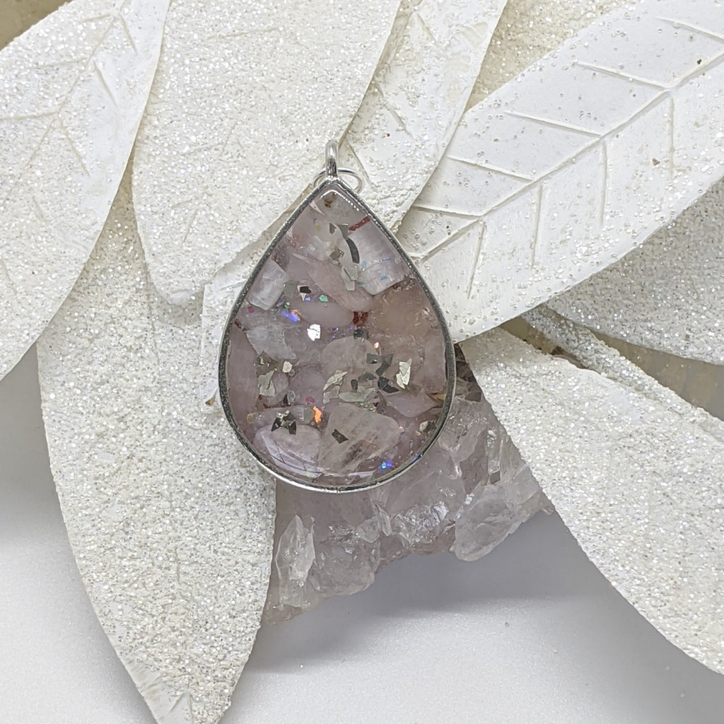 Silver Drop Healing Crystal Necklace - Art by Autumn M.Necklace