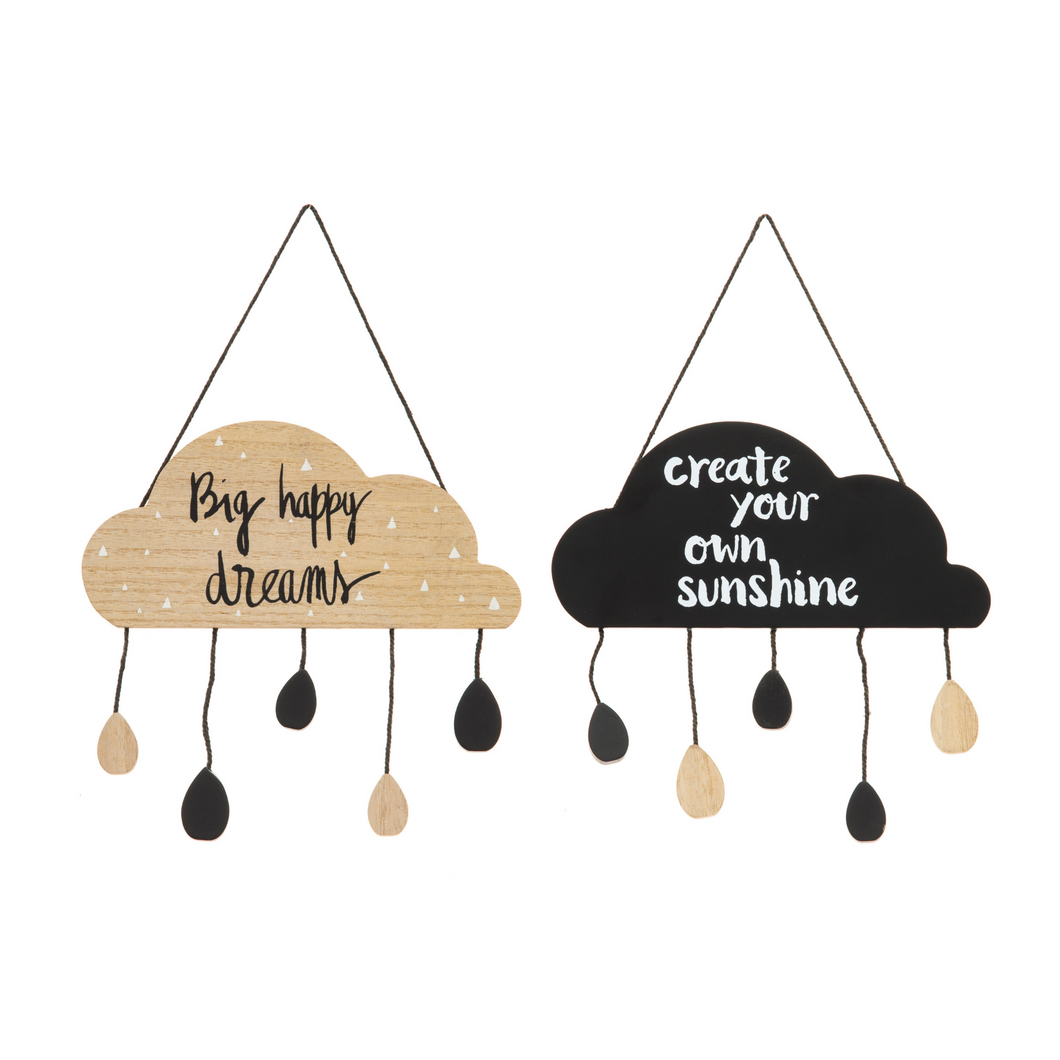 Set of 2 Hanging Clouds - Positivity