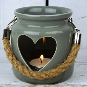Grey-Green Porcelain Heart Tealight Lantern