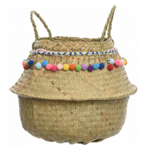 Woven Storage Basket With Pompoms