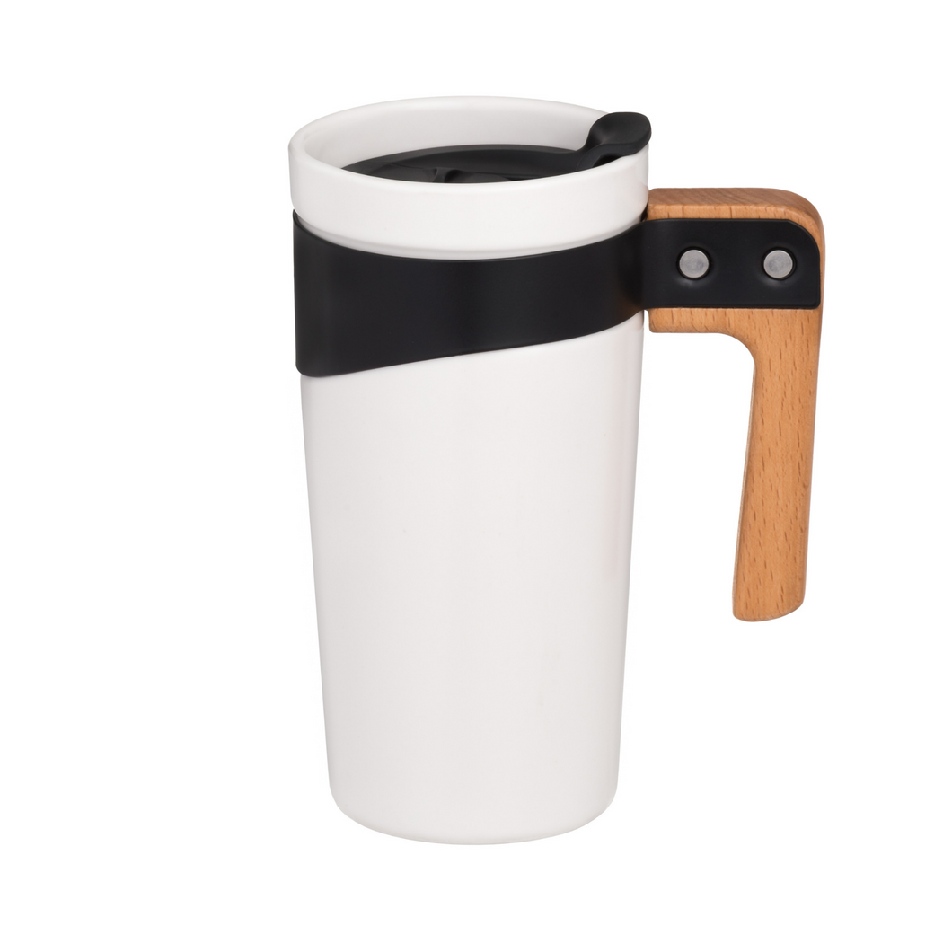 White Ceramic Travel Mug with Wooden Handle