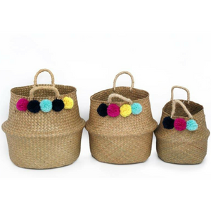 Set of 3 Pompom Belly Baskets