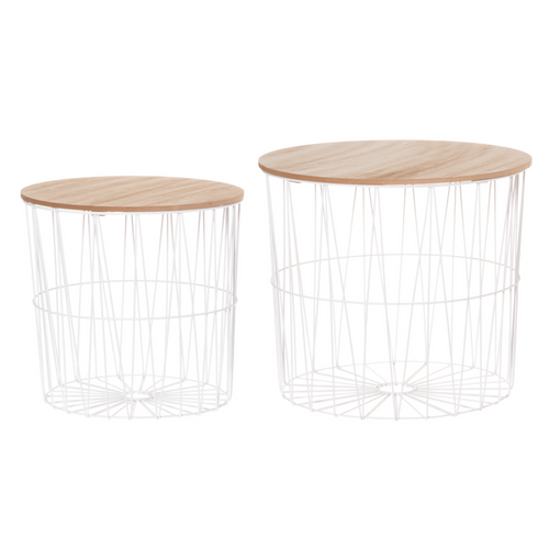 4LIVING White Metal Basket Tables 2-Piece Set