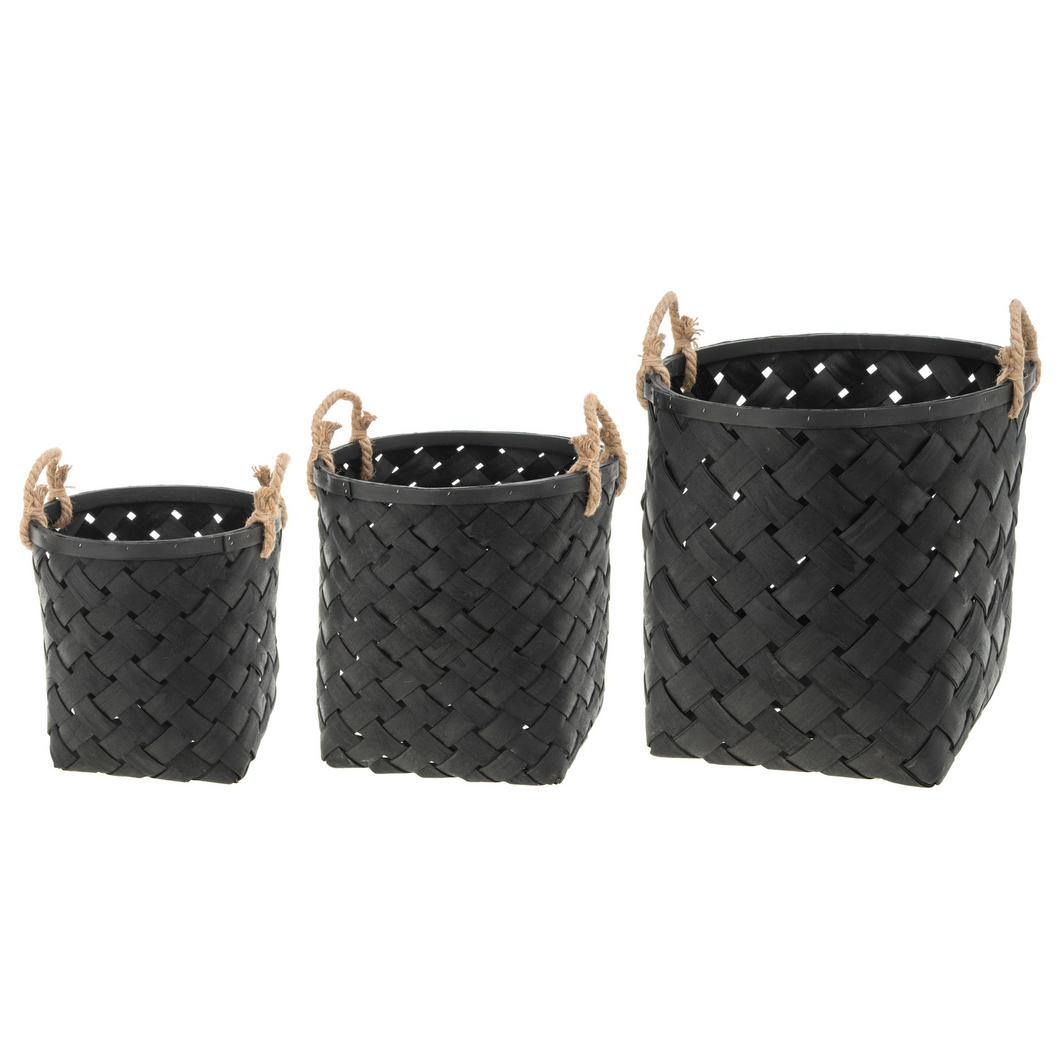 Set of 3 Black Woven Baskets