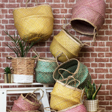 Yellow & Natural ZigZag Belly Basket