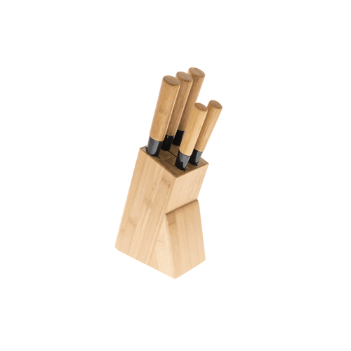 Bamboo Knife Block & 5 Assorted Knives