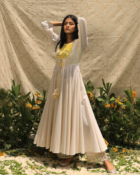 Sunny Side Up Kurta - Off-White & Yellow