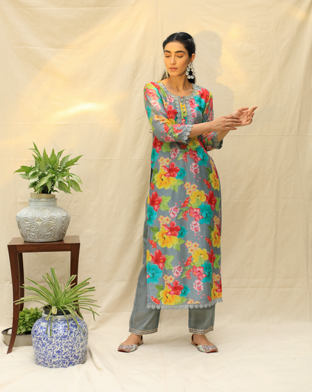 Gardenia Kurta - Grey & Yellow
