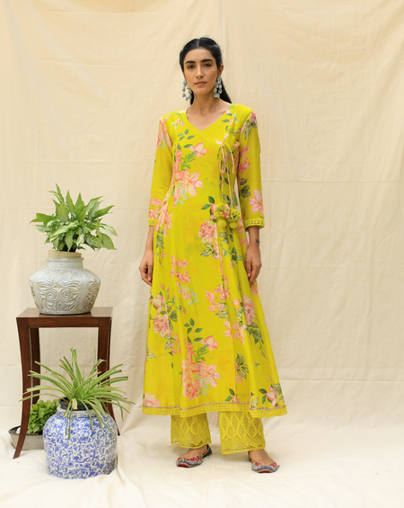 Crazy Daisy Kurta - Lime Green