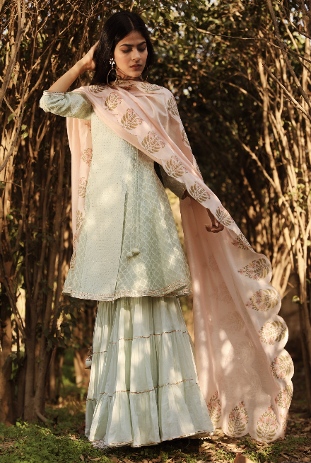 Afsaana Set - Mint & Light Pink
