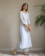 Queen of Diamonds Kurta - Dusky Blue