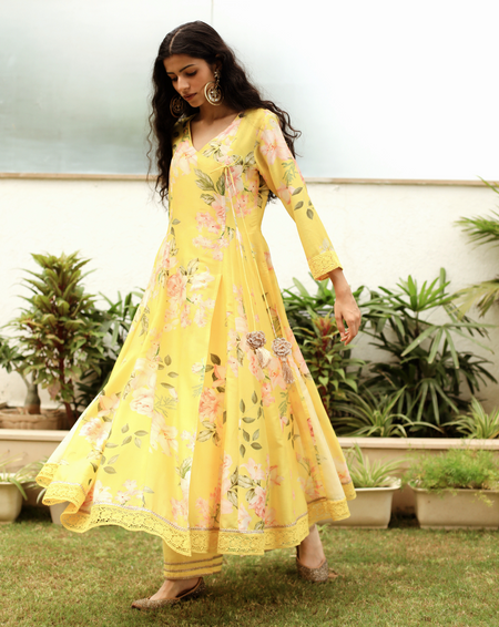 Crazy Daisy Kurta - Yellow