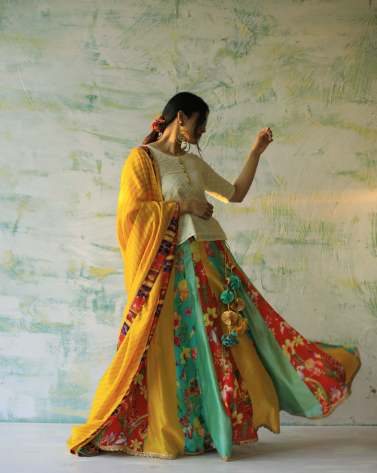 Bageecha Lehenga - Multicoloured