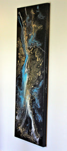 20x60 Original Black Resin Metallic Gold Painting