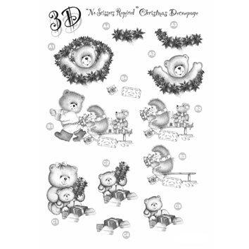 Die Cut Monochrome Xmas Decoupage Teddies