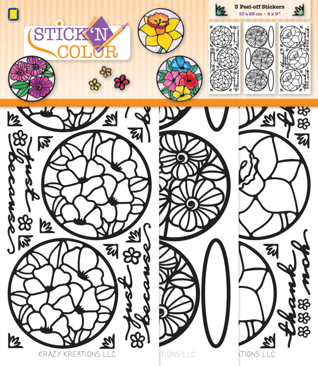 Stick n Color Peel Off Stickers - Flowers