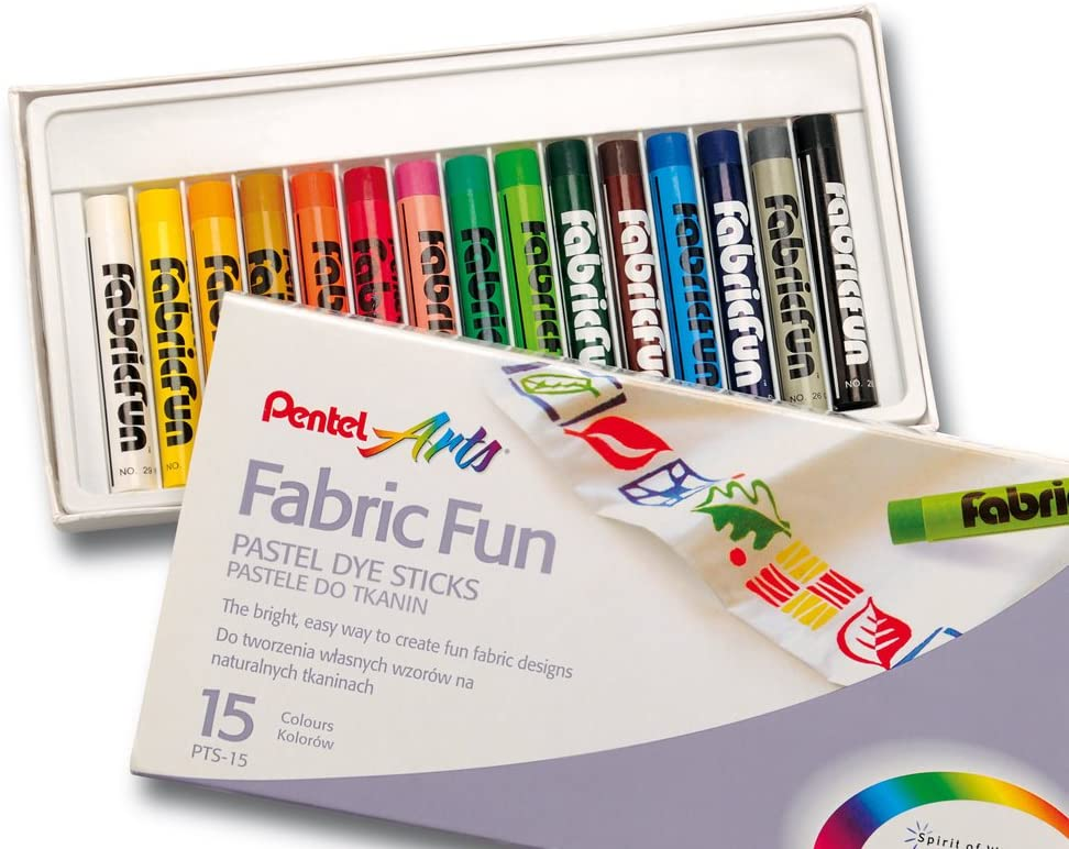 Pentel PTS15 Fabric Fun Pastel Dye Sticks - Assorted, Pack of 15