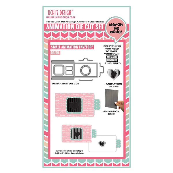 Uchi's Design Envelope Animation Die Cut and Clear Stamp Set