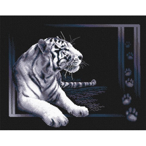 White Tiger Counted Cross Stitch Kit J-0277