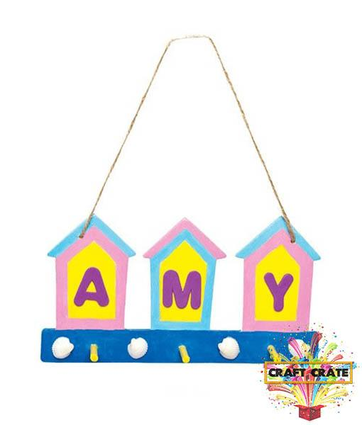 Beach Hut Wooden Key Holder-simple-Craft Crate UK-Craft Crate