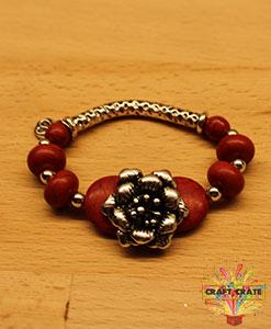 Bracelet Jewellery Kit with Metal Embellishments-simple-Craft Crate UK-Metal Rose - Red-Craft Crate