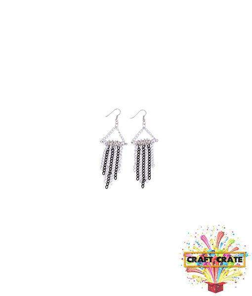 Earrings Jewellery Kit-simple-Craft Crate UK-Silver & Black-Craft Crate