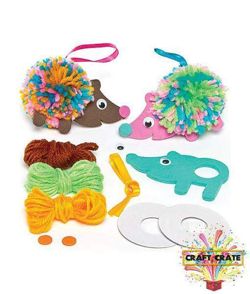 Hedgehog Pom Pom Decoration Kit-simple-Craft Crate UK-Craft Crate