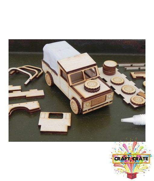 Laser Cut wooden Model Kit-simple-Craft Crate UK-Classic 4 x 4 Car-Craft Crate