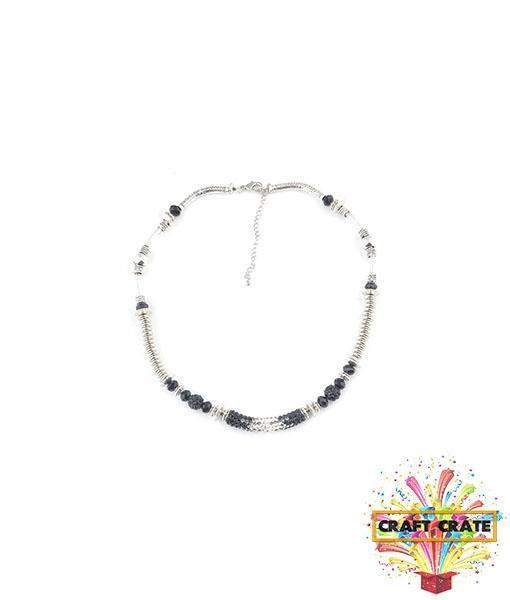 Necklace Jewellery Kit-simple-Craft Crate UK-Black & Silver-Craft Crate