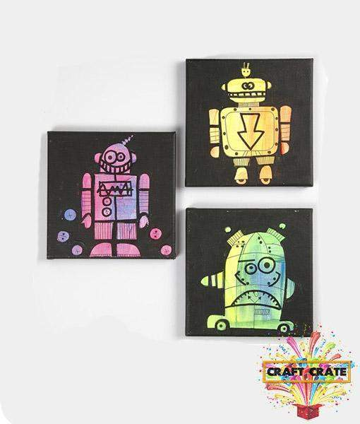 Robots Printed Stretch Canvas-simple-Craft Crate UK-Craft Crate