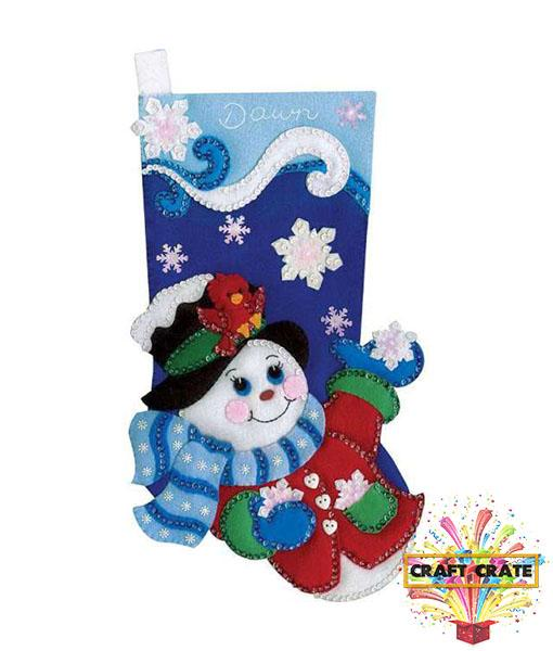 Snowflake Snowman Stocking Sewing Kit-simple-Craft Crate UK-Craft Crate