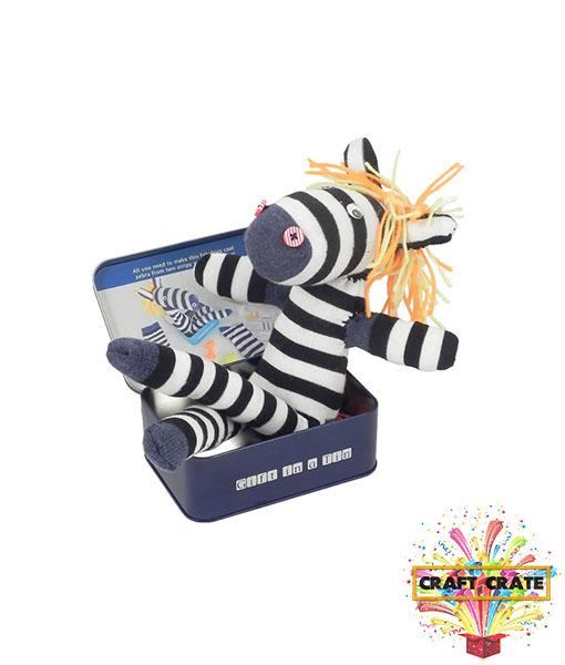 Sock Zebra in a Tin-simple-Craft Crate UK-Craft Crate