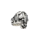 travel inspired unique rough solid sterling silver chunky Eon skull ring ruin