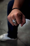 wearing travel inspired unique rough solid sterling silver chunky Eon skull ring ruin