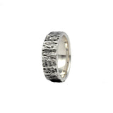 wearing tree bark texture sterling silver husk ring 8mm alternative wedding band