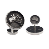 travel inspired modern men's sterling silver ball return detailed topographical map Australia Memento cufflinks