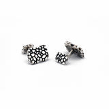 travel inspired modern men's sterling silver Wanderer ball return rectangle Cufflinks cobblestone steps