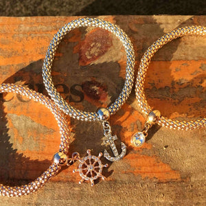 3 Bracelets with Crystal Charms-Flashpacker