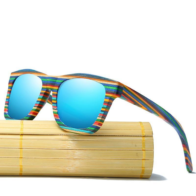 Rainbow Stripe Bamboo Sunglasses-Flashpacker