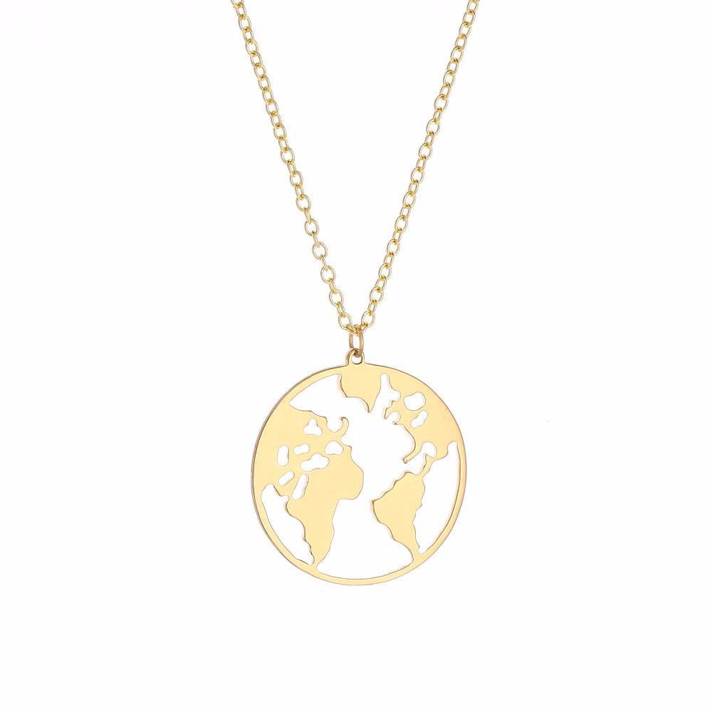 World Map Necklace-Flashpacker