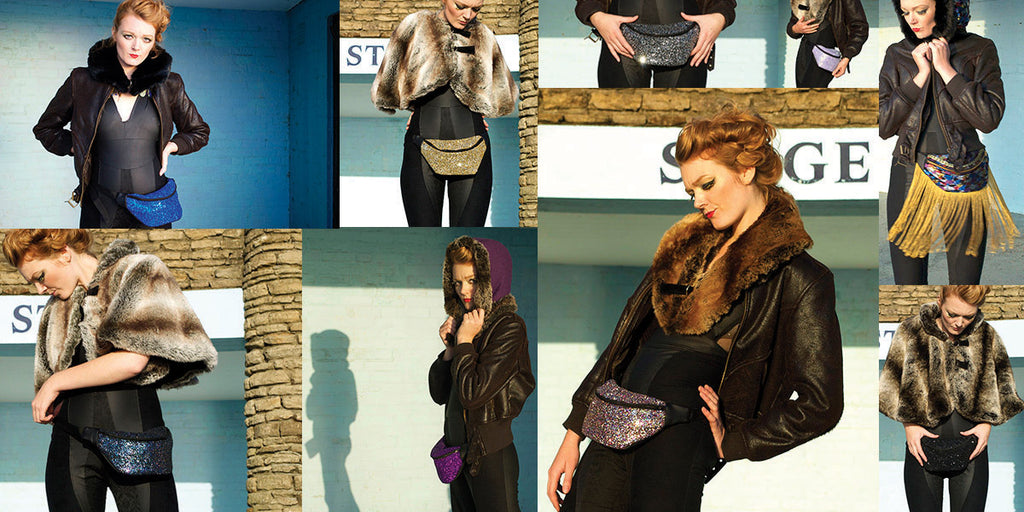 Collage of model wearing glitter fanny packs and luxury fur hoods - Beksies Boutique Autumn Winter 2014