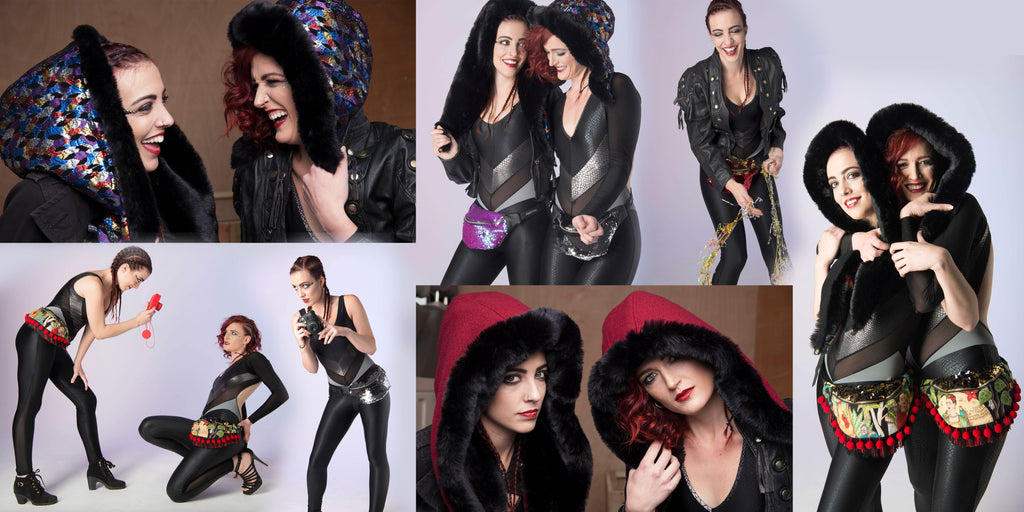 Collage of a pair of models in black jumpsuits, wearing hoods and designer bum bag fannypacks - Beksies Boutique Autumn Winter 2016