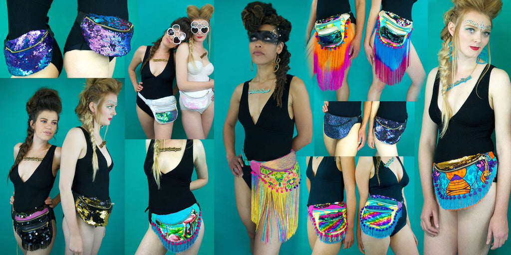 Collage of a pair of models wearing esigner bumbags fanny packs, some decordated with tassels - Beksies Boutique Spring Summer 2016