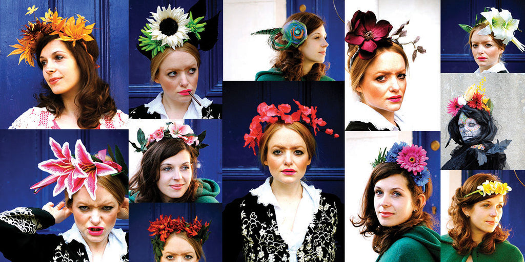 Collage of Beksie channeling Frida Kahlo and wearing different headdress. - Beksies Boutique Spring Summer 2012