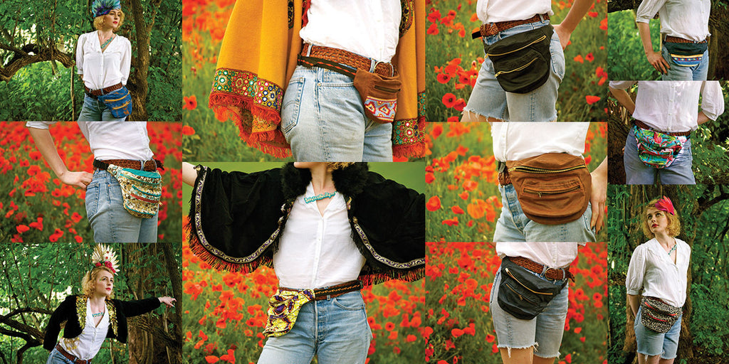 Collage of a model in a poppyfield, wearing fannypacks and headdresses - Spring Summer 2013 Bumbags fannypacks