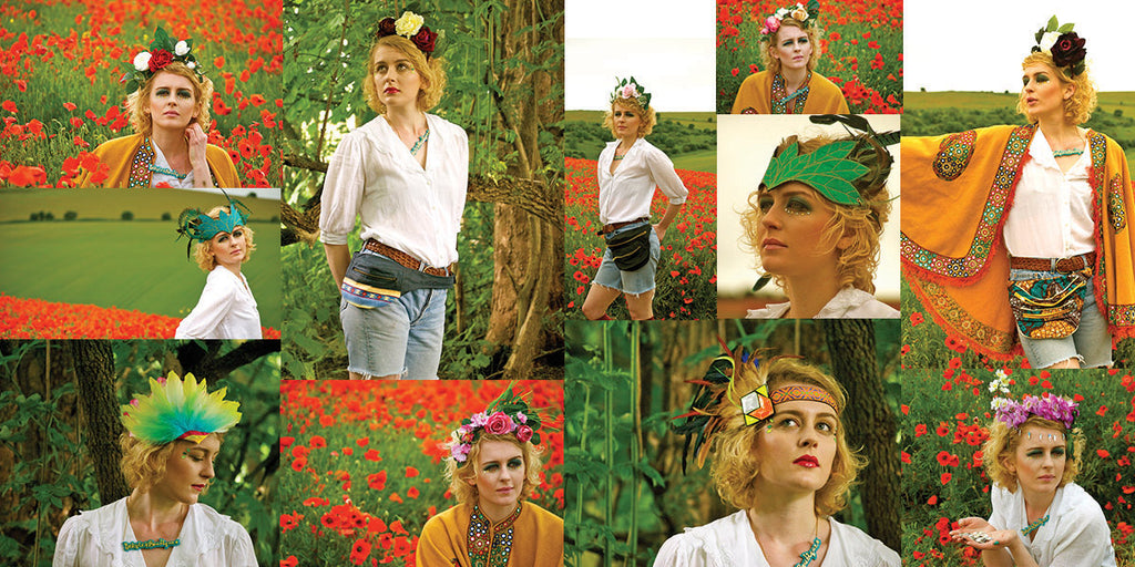Photomontage of a model in jean shorts wearing a wide range of designer bumbags - Beksies Boutique Spring Summer 2013 headdress