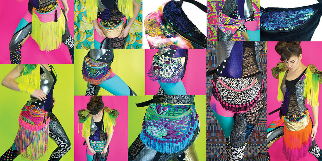 Photocollage of neon coloured designer bumbags fanny packs, some decordated with tassels and glitter - Beksies Boutique Spring Summer 2015